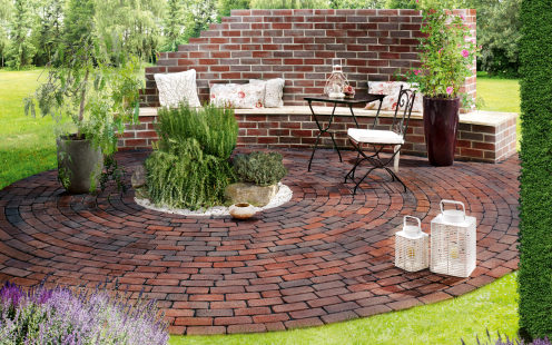 paver, penter, paving stone, garden, lounge, bench, plant