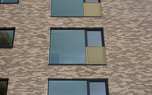 Apartment building, Irmabyen in Roedovre, Mix of Facing Bricks, W 479 Sand and W 452 Valnoed